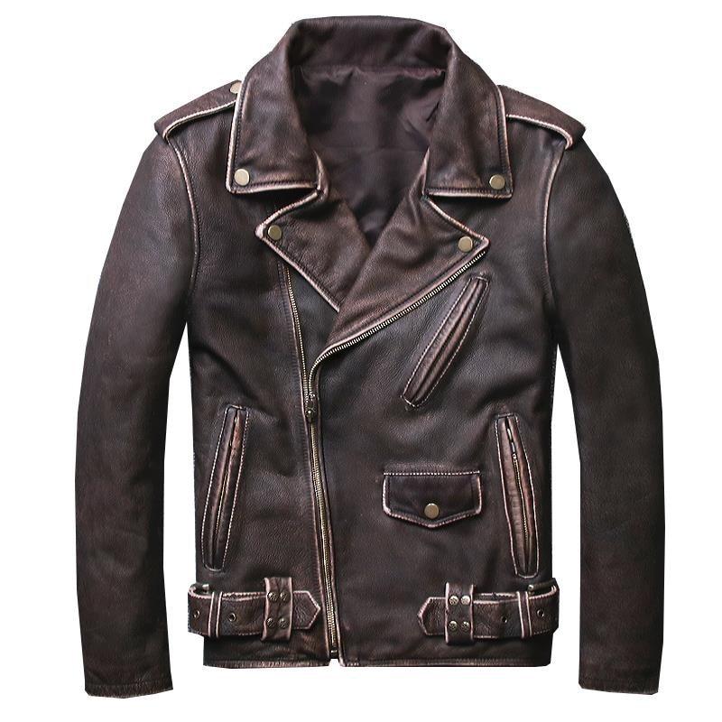 HARLEY DAMSON Vintage Brown Mens Short Biker Leather Jacket Plus Size 5XL Genuine Cowhide Slim Fit Motorcycle Leather Coat