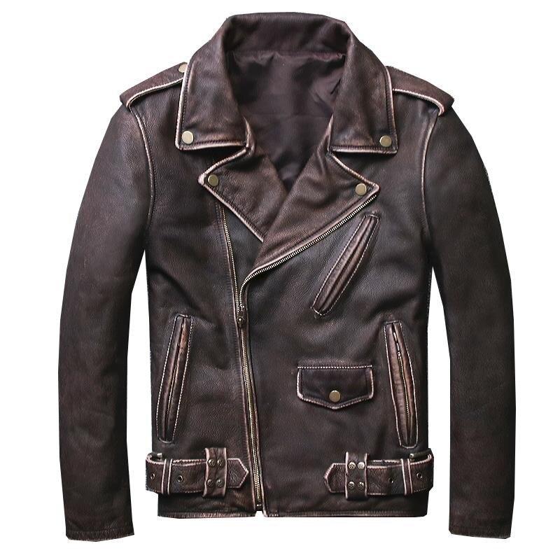 HARLEY DAMSON Vintage Brown degli uomini Breve Biker Giacca di Pelle Plus Size 5XL Genuino Della Pelle Bovina Slim Fit Cappotto di Cuoio Del Motociclo