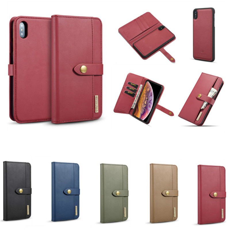 Luxury Genuine Leather+PC Flip Case Voor iphone X XS XR XS Max Magnetic Wallet Cover 2 in 1 Stand Case for iphone 6 6 S 7 8 Plus image