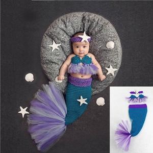 Cola de sirena bonita 2020 recién nacidos, atrezos para fotografía de bebés, sombrero gorro bebé juego de ropa infantil, trajes de ganchillo para recién nacidos para niñas