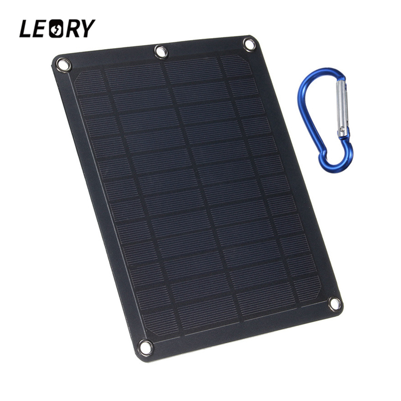 LEORY 5W 5V 1A Portable Solar Panel PolyCrystalline Solar Cells With USB Port Battery Charger For Car Cell Phone Power Bank
