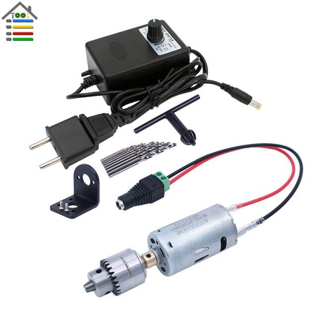 DIY Mini Hand Drill Kit Electric Motor Drill Press JT0 Keyless Chuck 10pc Twist Bits Adjustable Speed Power Adapter Woodworking