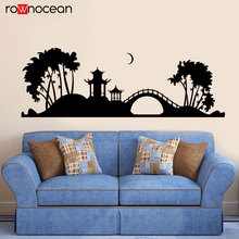 Japanese Pagoda Tree Bridge Japan Night Art Wall Sticker Home Decor For Living Room Nature Decals Mural Interior Decoraton 3478 home decorative london twin bridge night glowing sticker luminous decals for couples room