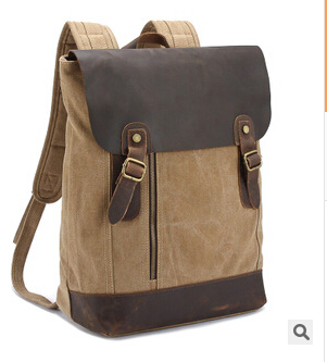 ФОТО Big capacity canvas travel bag unisex preppy style backpack canvas with genuine leather four colors