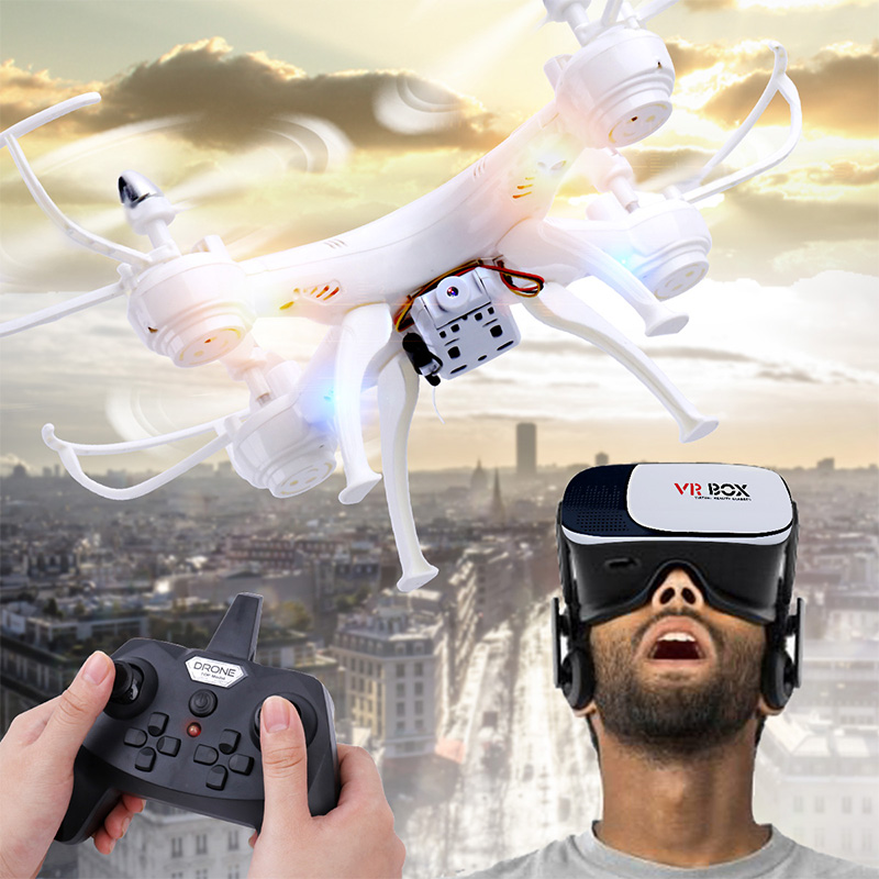 RC Quadcopter Drone med kamera med VR Glass FPV Drones WiFi Telefonkontroll Live Video Foto RC Helikopter UAV Dwi Dowellin D4