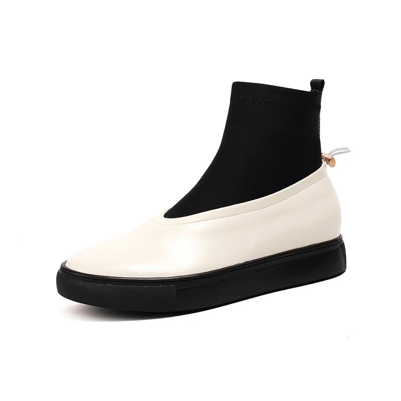 8c4a0457e372 Casual Printemps Slip Plate De forme Plat Vache Nemaone Nouveau Cuir Bottes  Femme Automne Pour Filles Beige Boots100 Chaussettes On 2018 noir Chaussures  ...
