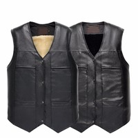 Men S Leather Vest Faux Fur Vests Pu Leather Jackets Coats Winter Warm Wearing Black Color