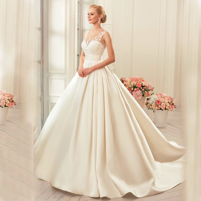 Vestido de noiva Satin Wedding Dresses Ball Gown real photo white Ivory elegant Bridal dress open
