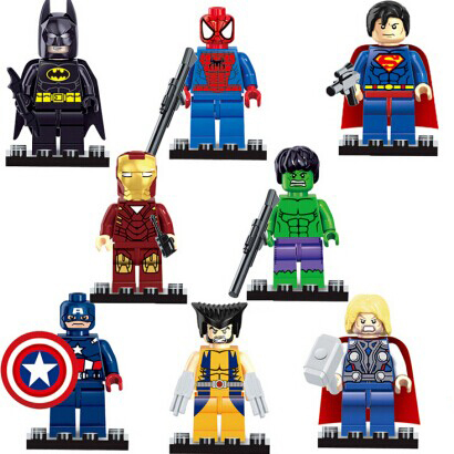 Super Heroes Figures 8pcs/lot Iron Man Hulk Batman Thor Building Blocks Sets Minifigure Toys Bricks Compatible with Lego Marvel