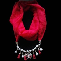 Heart Charms Drop Pendant Necklace Colored Scarves DST Sorority Jewelry Wrap Custom Scarf Necklace For Women