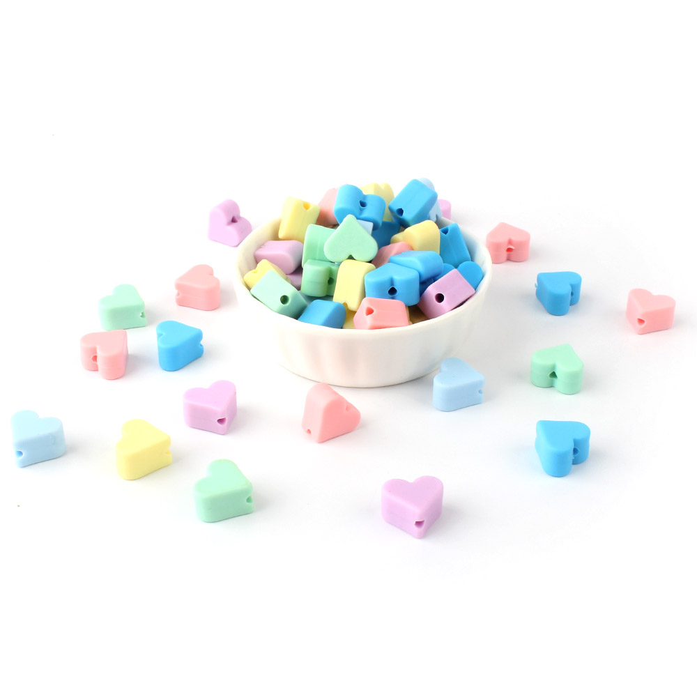 10 Pcs Silicone Heart Beads Food Grade Baby Chewable Teething Beads For Nursing Necklace DIY Jewelry Making Accessories