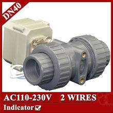 1 1/2″ AC110-230V plastic actuated ball valve, 2 wires(CR202) electric ball valve,DN40 UPVC ball valve power off return