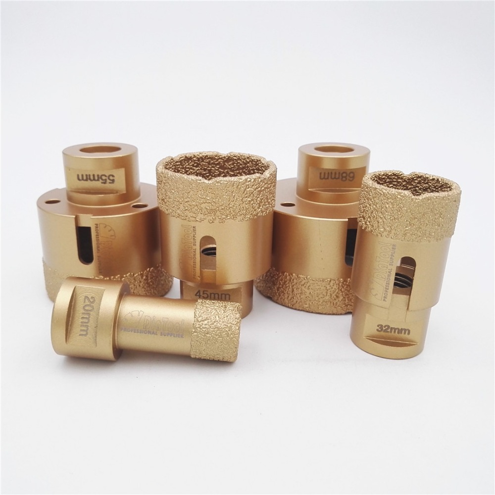 DIATOOL 5pcs/set Vacuum Brazed Diamond Drill Core Bits With 15MM Teeth 20/32/45/55/68mm Hole Saw Granite Marble Ceramic Tile