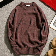 Brand New Sweater Men Autumn Winter Warm Mens Knitted Sweaters Solid Color Casual O-Neck Pull Homme Cotton Pullover Men