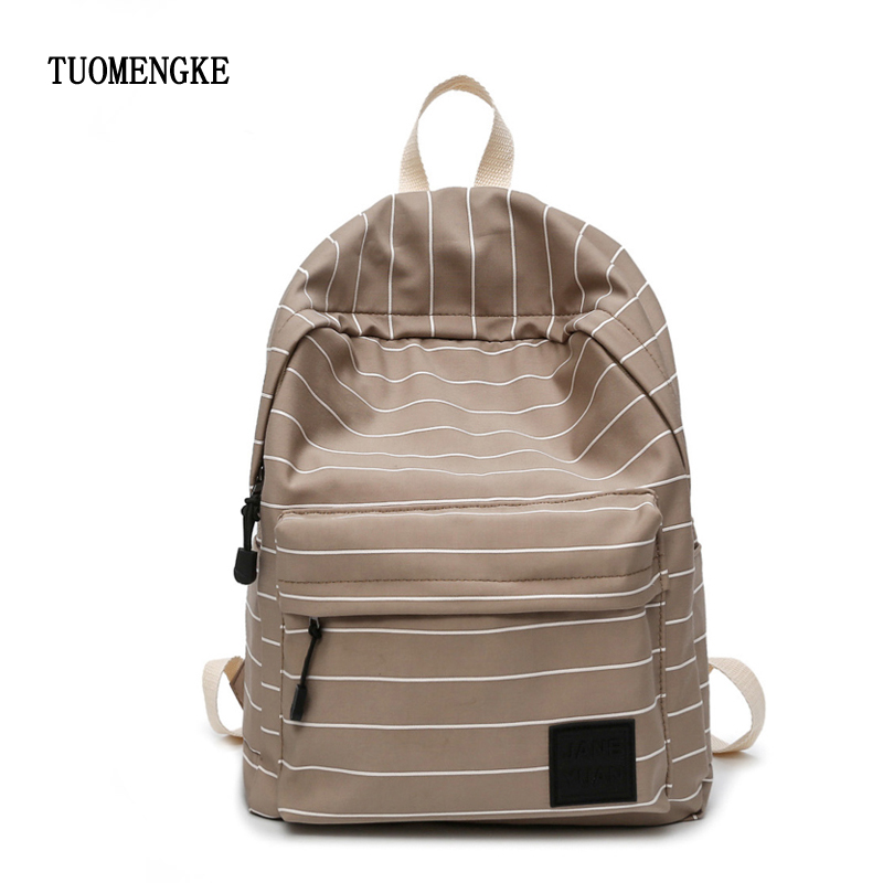 Women Backpack Female School Bag for Teenage Girls Laptop Backpacks Striped Travel Ladies Large Casual Student Notebook back bag in Backpacks from Luggage Bags