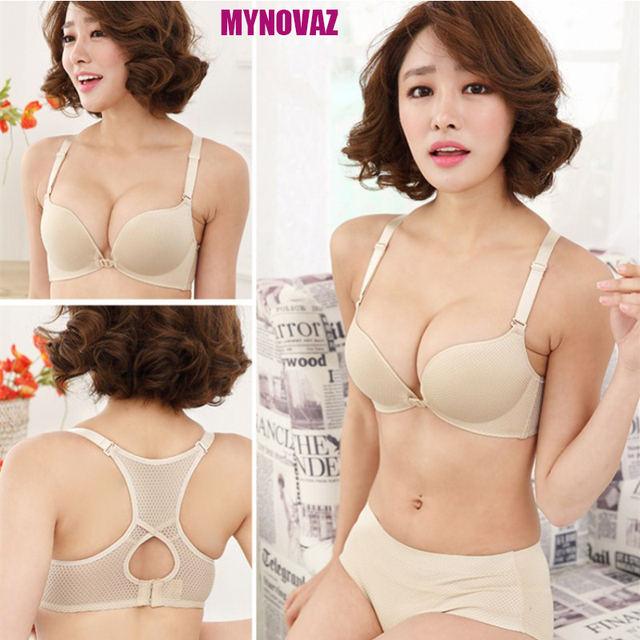 MYNOVAZ New Women Adjusted Wireless Bra Gather Small Chest Sexy Back Front  Buckle Bra Lingerie Button Front Push Up Plus Size B 1eb1a392138b