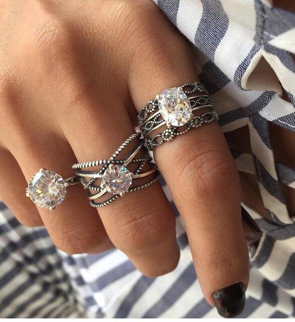 WLP 3 PCS/set Vintage Hand Knuckle crystal Finger Ring Set leaf Heart Crown Ring