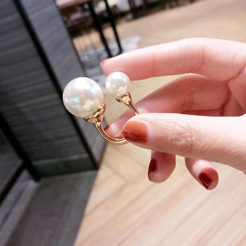 Big and Small 2 Sizes Simulated Pearl Opening Adjustable Women Ring