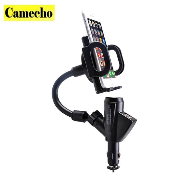 Universal Adaptador Para Carro Carregador Duplo 2 Portas USB Port + Celular montar titular suporte do telefone para o iphone 6/5/5s/ipod/ipad samsung lg