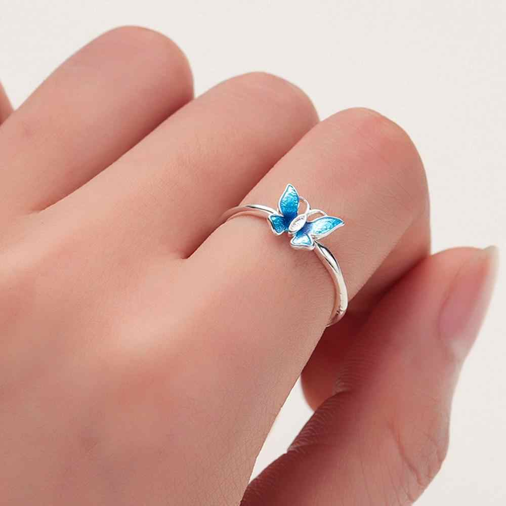 CHENGXUN Delicate Blue Butterfly Rings for Women Lady Finger Rings Opening Design Femme Bijoux Bague Elegant Style Gift