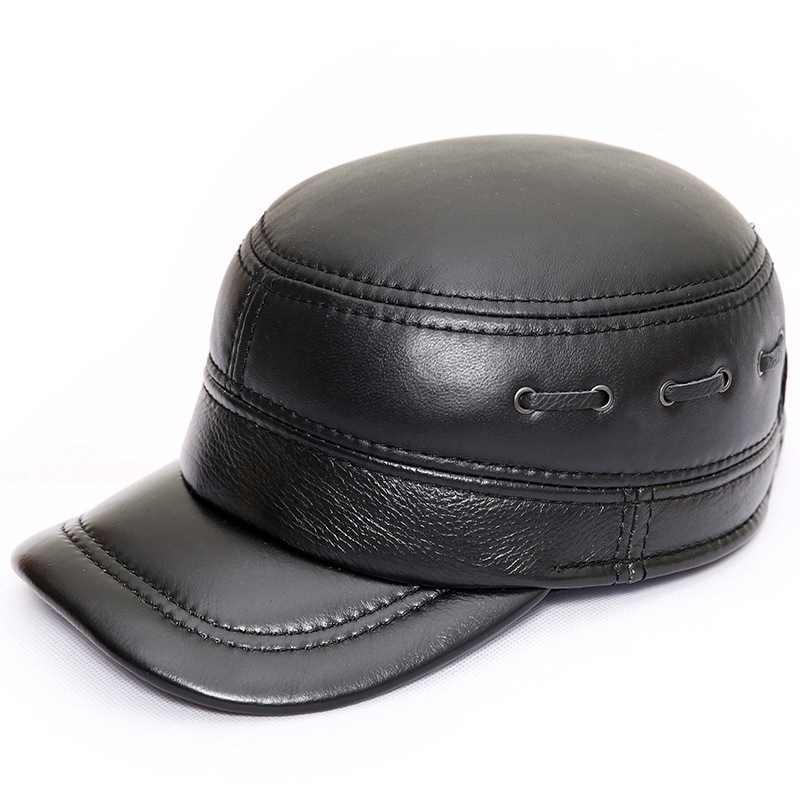 2019 جديد جلد الغنم شقة كاب قبعة الرجال الشتاء الدافئة الأغنام الجلد قبّعة مسطّحة في الهواء الطلق مع غطاء للأذنين القطن الأسود اللون الرجال