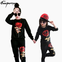 Mother And Daughter Match Clothes Long Sleeve Rose Sport Clothing Suit For Family Clothes Shirt With