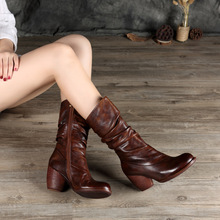 2017 New Winter Boots Genuine Leather Women Retro Thick Heels High Manual 1087-21