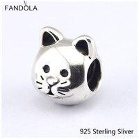 Katze Wärme Liebhaber Pet Silber Charme mit CZ 925 Sterling-Silber Fit European Style Bead für Frauen DIY machen Geschenk