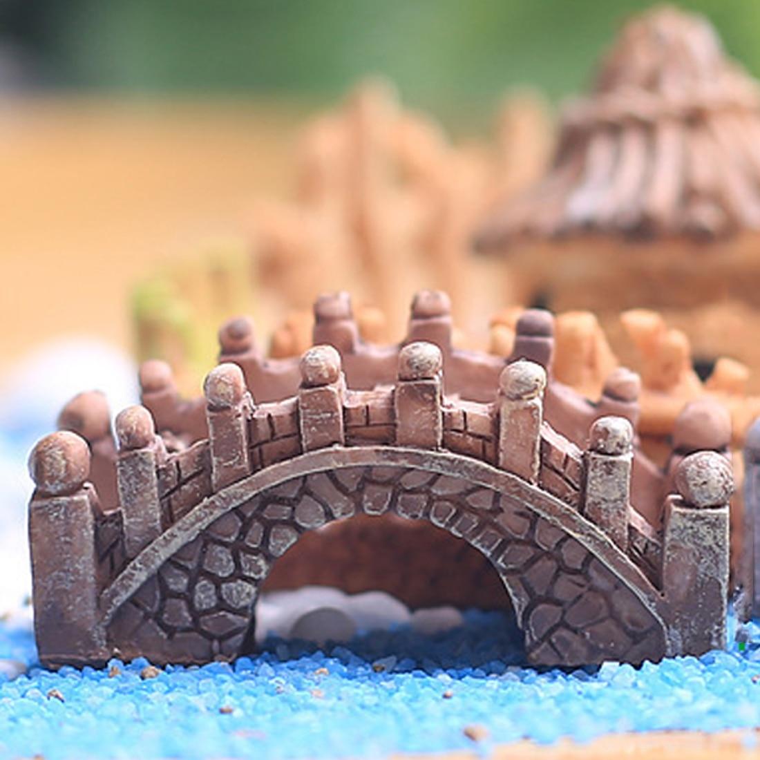 Top Sale Stone Bridge Figurines Mini Resin Crafts Fairy Garden Miniatures DIY Terrarium Succulents Landscape Decoration