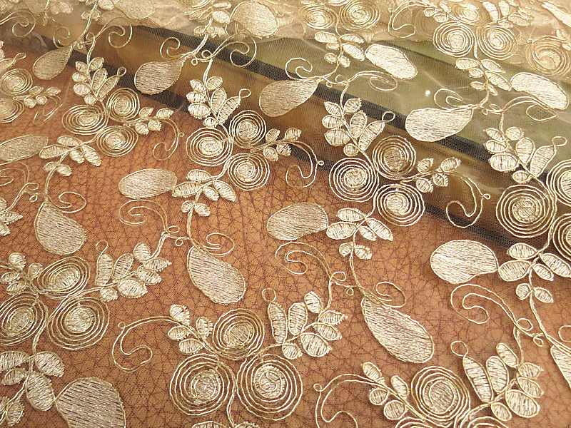 4yard 120cm Gold Cord Lace Embroidered Tulle Fabric Wedding
