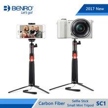Benro Selfie Stick SC1 Carbon Fiber Extendable Selfie Stick Small Mini Tripod For Selfie Bluetooth Remote For iPhone GoPro