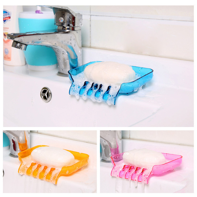 1PC Home Bathroom Soap Holder Container Soap Dishes Soap Box Drain Kitchen  Sink Sponge Holder For