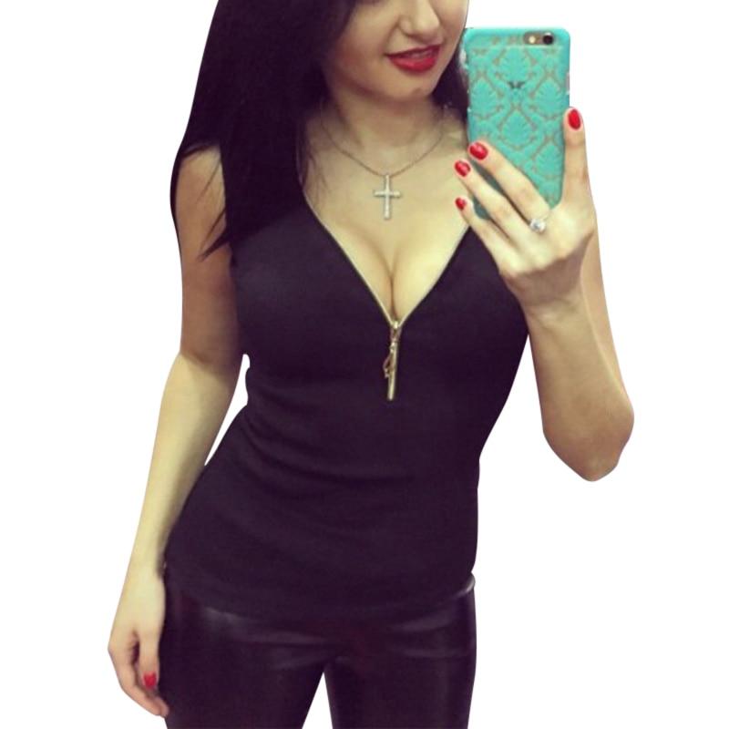 2017 Sexy Women T Shirt Fashion V-Neck Sleeveless Summer Woms