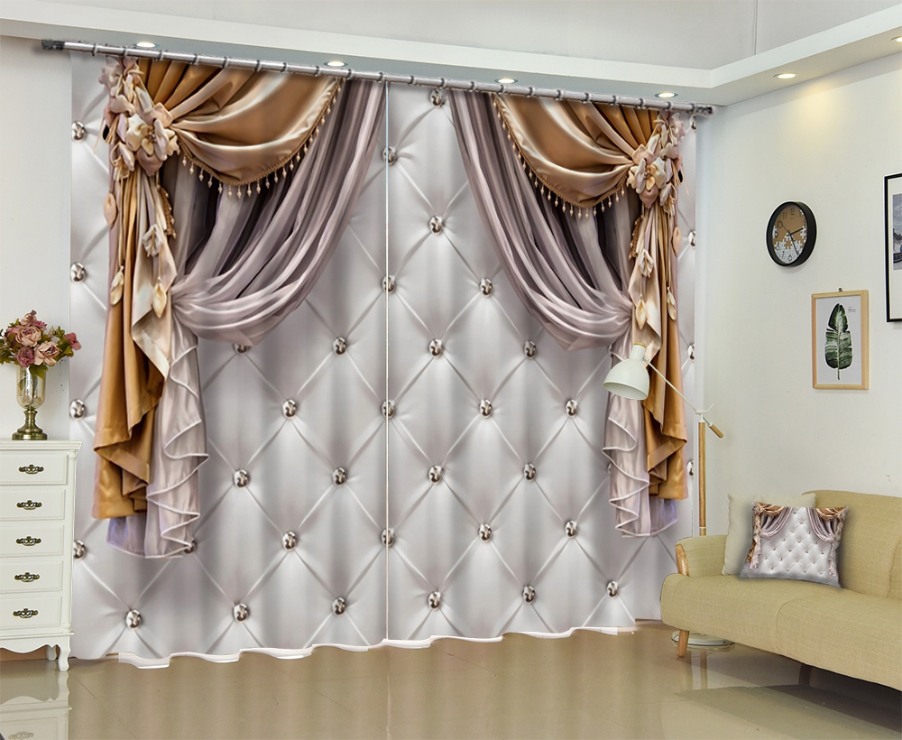 Customized Chinese Modern Luxury 3D Blackout Window Curtain Drapes For Living room Bed room Hotel Wall