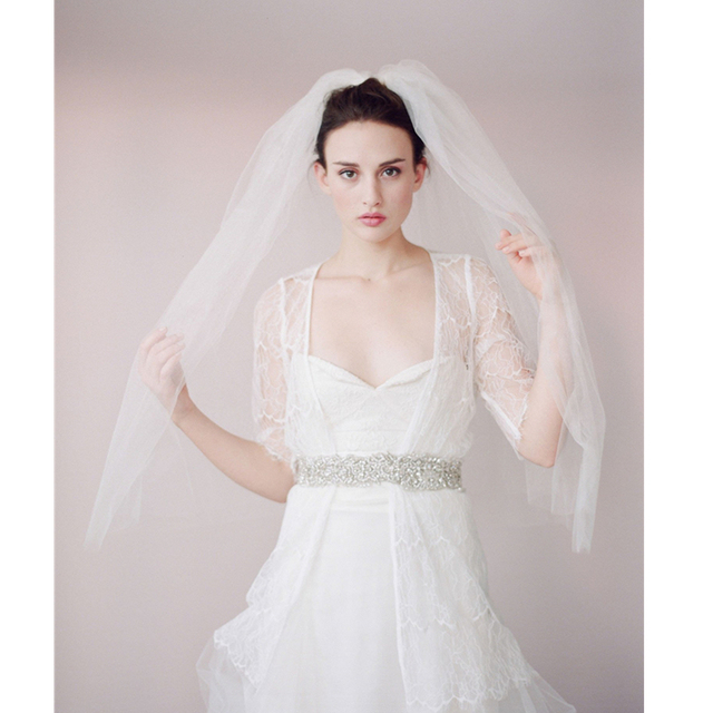 Unique Design Two Layer Wedding Bridal Veil Tulle Net 2017 Style Free Shipping with Comb Bride Hair Accessory