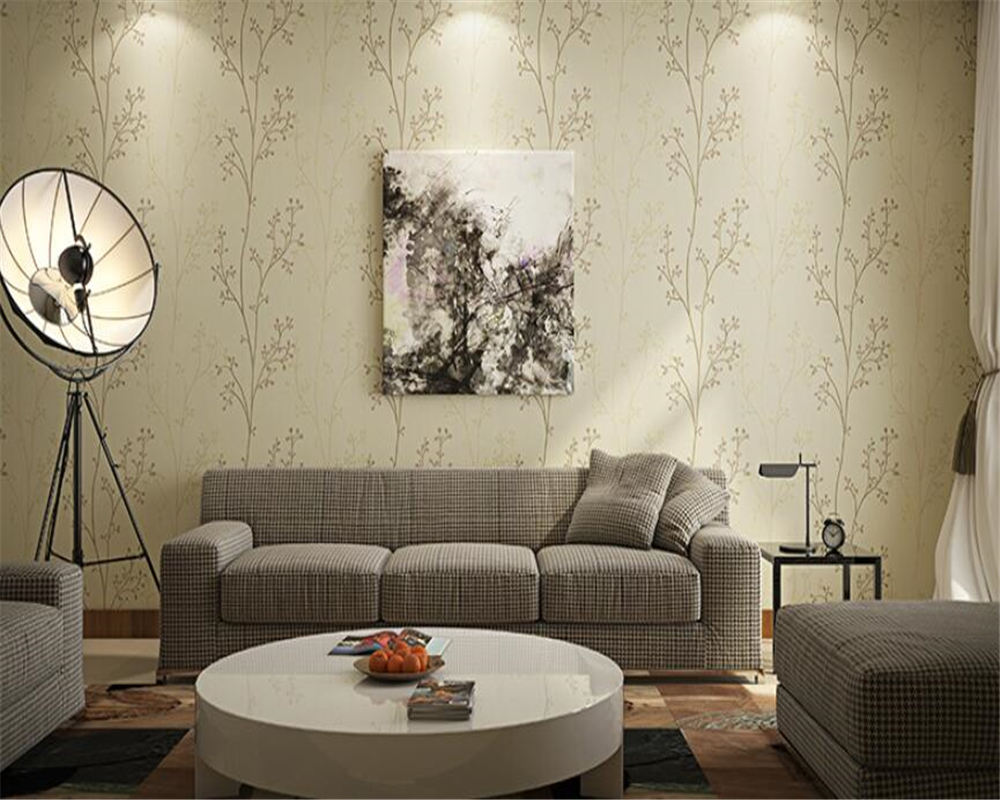 Beibehang Modern mural Green Gray Wall paper Saplings Living Room Bedroom Wallpaper TV desktop Sofa Background Wallpaper roll