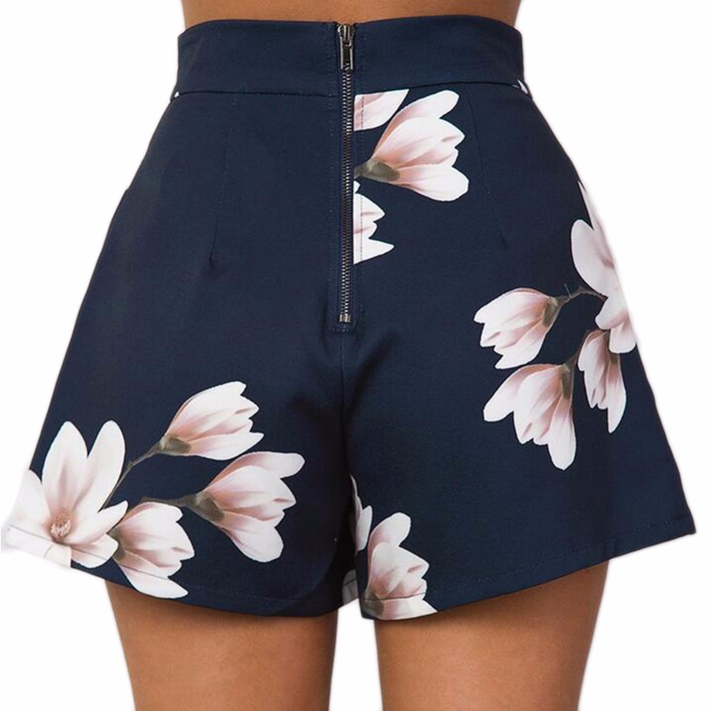 Ladies Beach Mini Shorts  S-XL Size 2017 New Navy Blue Floral Print Women Shorts Summer High Waist Casual Pockets Zipper Back