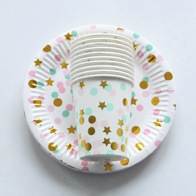 10pcs Colorful Dot Gold Stars Disposable Tableware Party Paper Plates Baby Shower Birthday Party Supplies Paper  sc 1 st  AliExpress.com & 10pcs Colorful Dot Gold Stars Disposable Tableware Party Paper ...