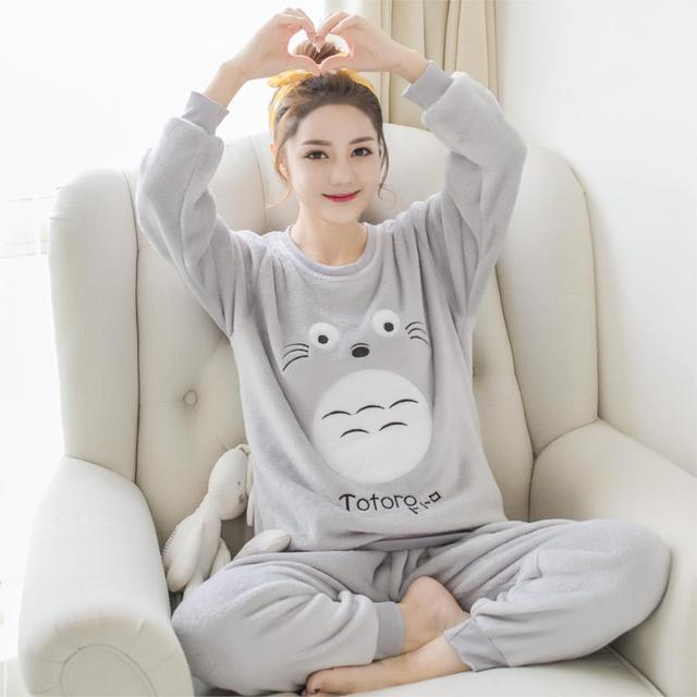 Autumn and Winter Women Pyjamas Sets Thick Warm Coral Velvet Suit Flannel  Long Sleeve Female Cartoon Cat Animal Pants Sleepwear 244e18fa5