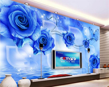 beibehang papel de parede wall paper Creative fashion high-level indoor wallpaper blue demon rose reflection 3D TV backdrop