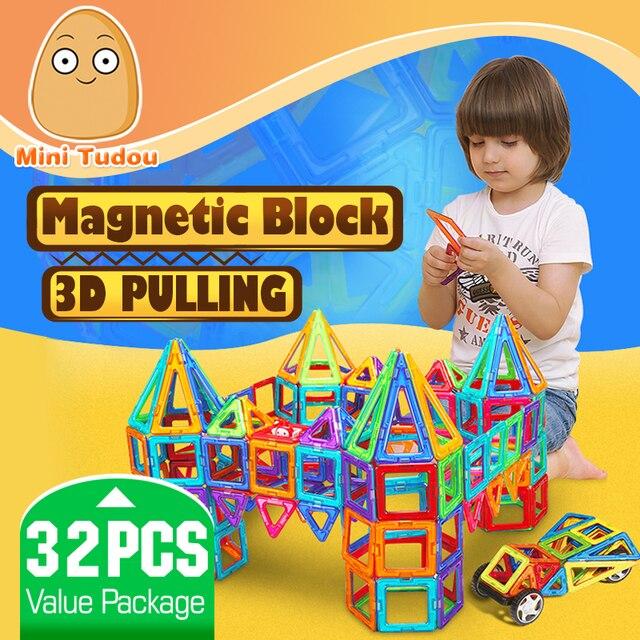 Minitudou детей игрушки 32 шт. просветить кирпичи образовательные магнитный конструктор игрушки площадь треугольника шестиугольная 3D DIY строительные блоки