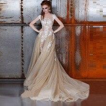 2016 Champagne Wedding Dress with White Lace Detachable Skirt Sexy See Through Bride Dresses Short Sleeve Vestidos de Noiva цена