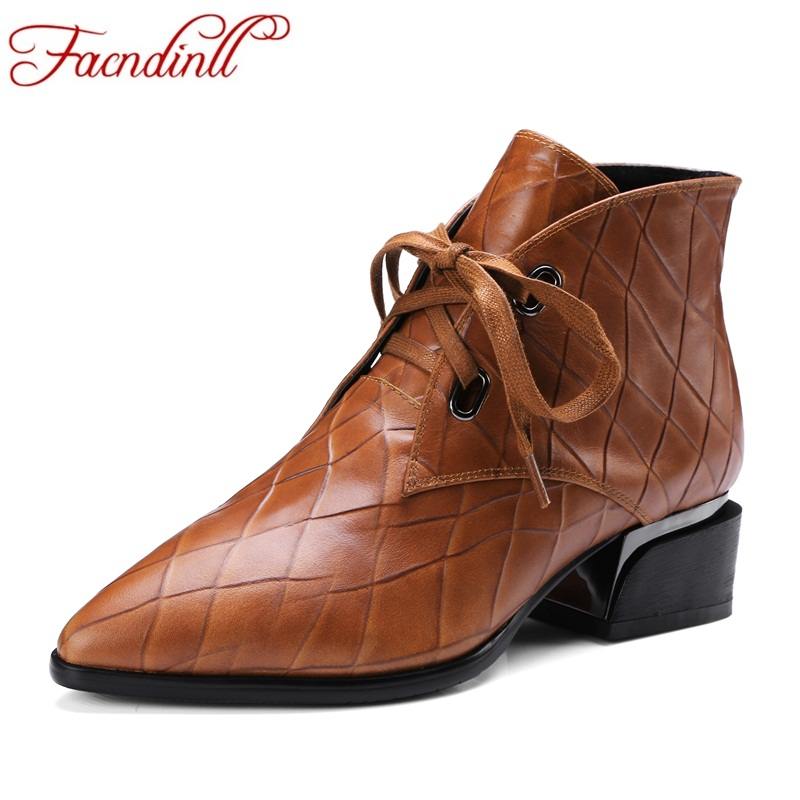 FACNDINLL fashion women autumn winter ankle boots shoes med heel pointed toe lace up shoes woman black brown casual riding boots front lace up casual ankle boots autumn vintage brown new booties flat genuine leather suede shoes round toe fall female fashion