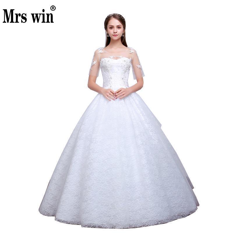 Wedding Dress 2018 The Mrs Win Bride Short Sleeve Classic Lace Ball Gown Princess Noble Bidal Gown Vestido De Noiva F