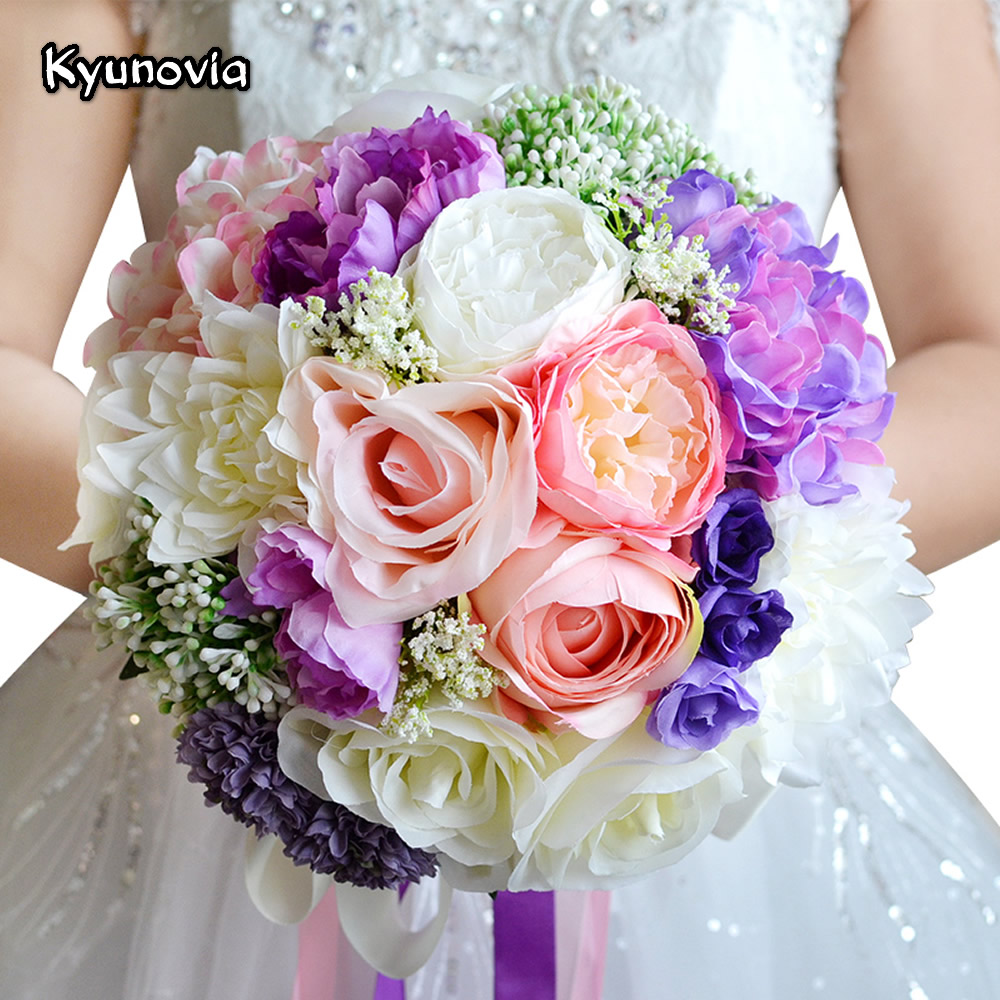 Wedding Bridal Flowers: Romantic Wedding Bouquet Mixed Colors Brooch Bouquet