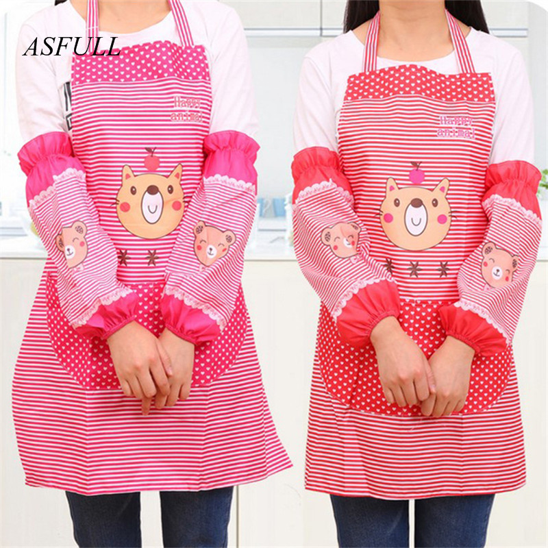 ASFULL hello cute set Kitchen pinafore arm sleeve Oil and dirt prevention Kitchen apron supplies Free shipping