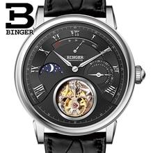 Switzerland BINGER Watches Men Luxury Seagull Automatic Movemt Watch Male Tourbillon Sapphire Alligator Hide Mechanical 80801-2
