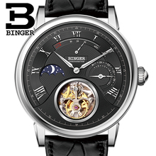 Switzerland BINGER Watches Men Luxury Seagull Automatic Movemt Watch Male Tourbillon Sapphire Alligator Hide Mechanical 80801-2
