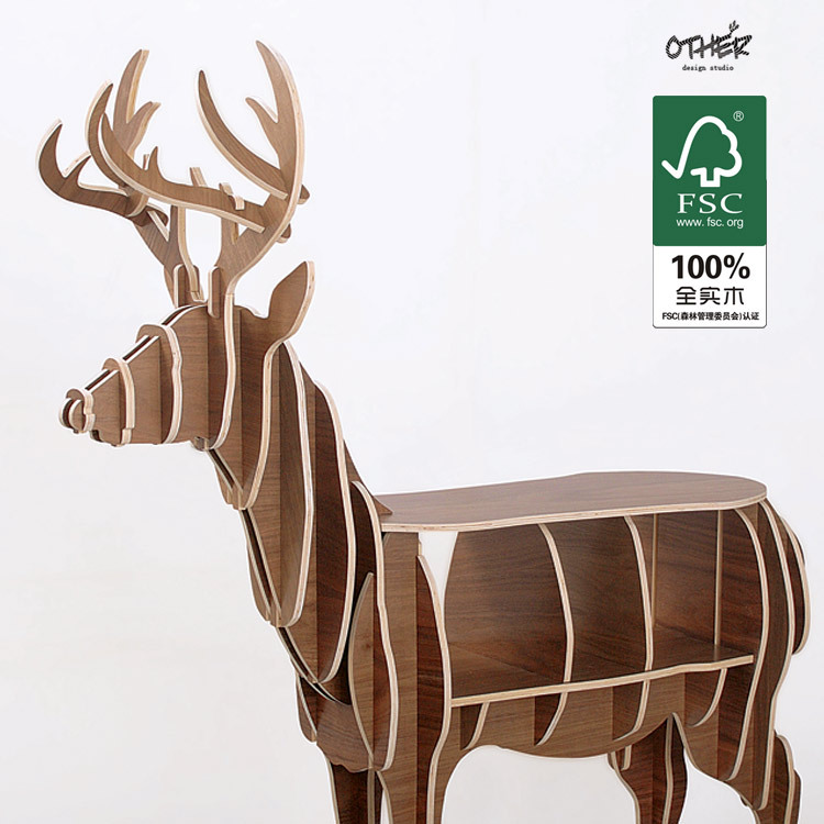 Large size Christmas deer table European DIY Arts Crafts Home Decorative elk wood craft gift desk self-build puzzle furniture factory wholesale european style rhino wood coffee table desk craft gift desk self build puzzle furniture free shipping