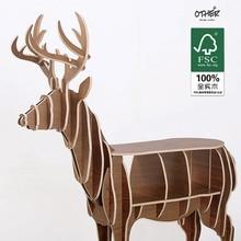 Большой размер Рождественский олень стол Европейский DIY Ремесел Главная Декоративные лося дерево ремесло подарок стол самостоятельного строительства головоломки мебель